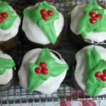 Capcakes tematica hojas de navidad